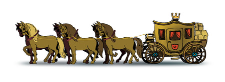 horse cart: Drawing of six horses pulling an old big carriage