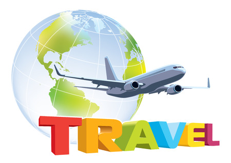 airplane travel: Commercial airplane flying over word travel, earth globe in the background Illustration