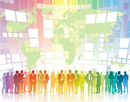 hombres ejecutivos: La gente est� de pie delante de pantallas grandes Vectores