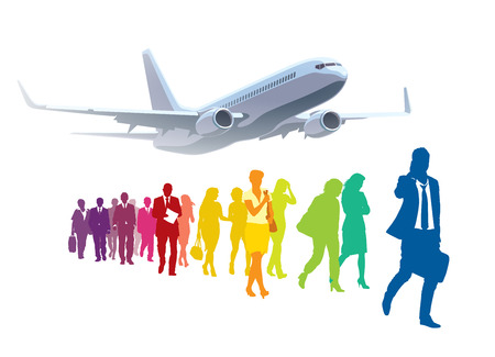 commercial airplane: Crowd of walking people in front of large commercial airplane. Illustration