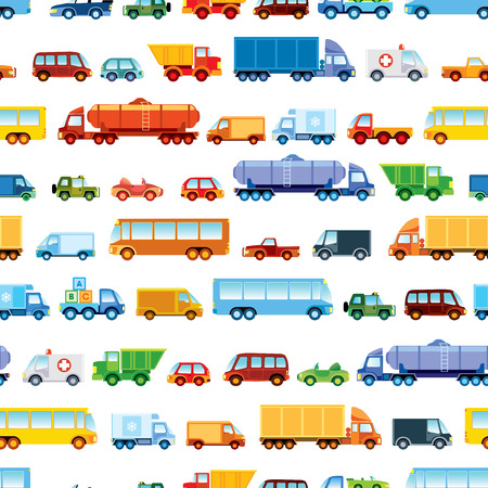 haulage: Toy car pattern, collection of various funny toy cars. Illustration