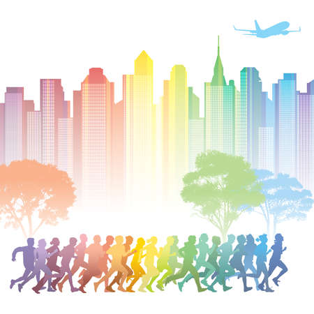 Crowd of young people running. Colorful buildings in the background. Vector