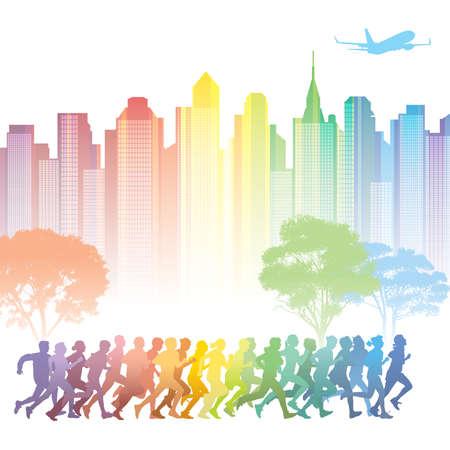 urban colors: Multitud de jóvenes en ejecución. Edificios coloridos en el fondo.