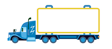 haulage: Large lorry with blank container ready for custom text