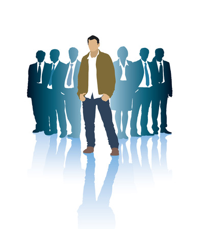 corporate people: Successful businessman in front of a group of people