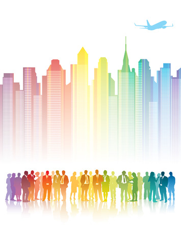 Colorful crowd of businesspeople standing in front of colorful buildings. Vector