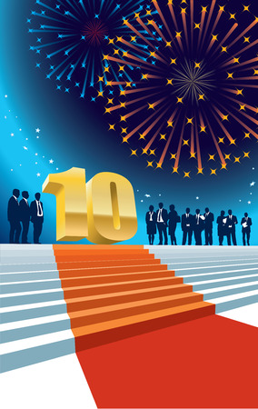 tenth birthday: Colorful crowd of businesspeople celebrating tenth anniversary, fireworks in the background.