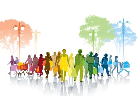 Muchedumbre colorida de gente de compras caminando en una calle.