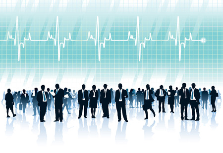 lifetime: Crowd of businesspeople standing in front of big cardiogram with heartbeat Illustration