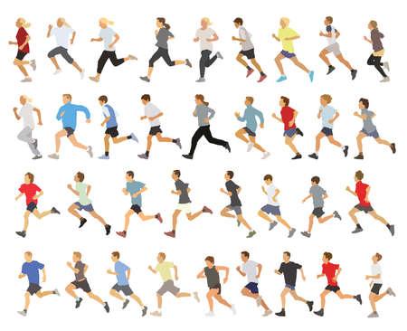 hombres corriendo: Gran colección de ejecutar siluetas, adolescentes, niños y niñas. Vectores