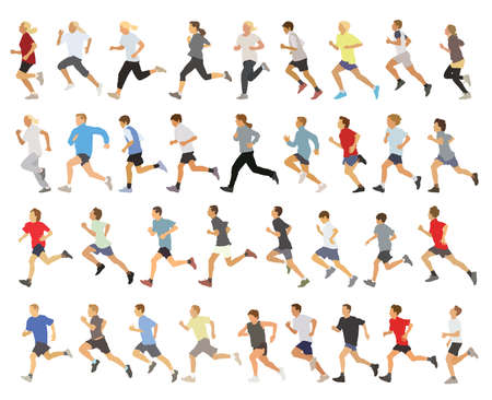 marathon runner: Large collection of running silhouettes, teenagers, boys and girls.