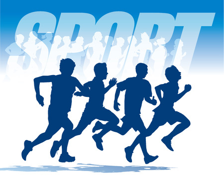 sports: Group of four young people running in the race. Illustration