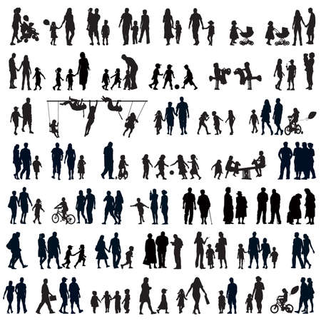 young people fun: Large set of people silhouettes. Families, couples, kids and elderly people.