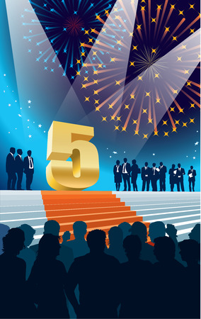 fifth: Crowd of businesspeople celebrating fifth anniversary, fireworks in the background. Illustration