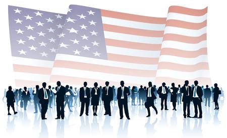 estados unidos bandera: Multitud de personas delante del gran bandera nacional de los EE.UU.