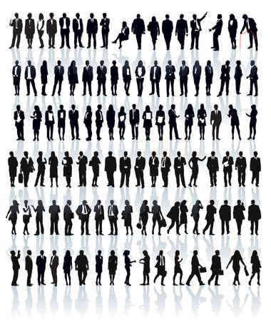 personas hablando: Amplio conjunto de siluetas de personas. Empresarios; hombres y mujeres. Vectores