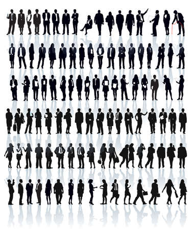 Large set of people silhouettes. Businesspeople; men and women. Vector