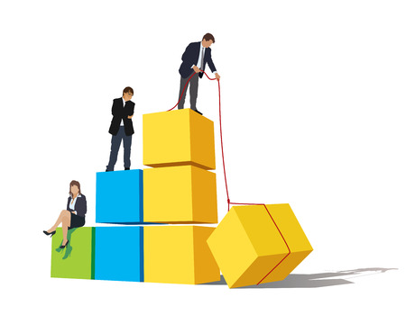 maintain: Successful people are on a large graph; one of the businessmen is still working to maintain high position.