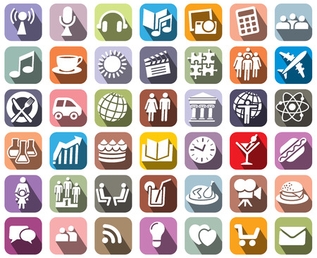 Collection of colorful icons over white background Vector