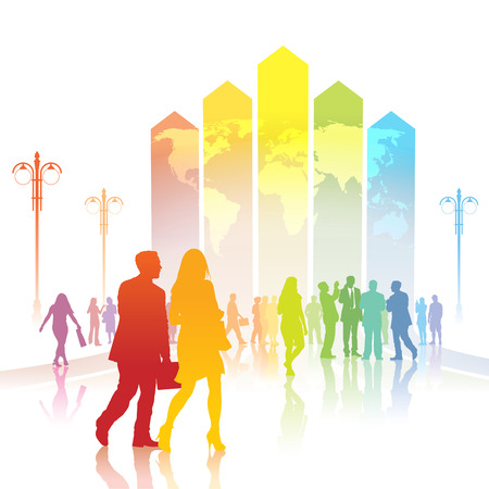 Colorful people are going to a large chart with world map. Vector
