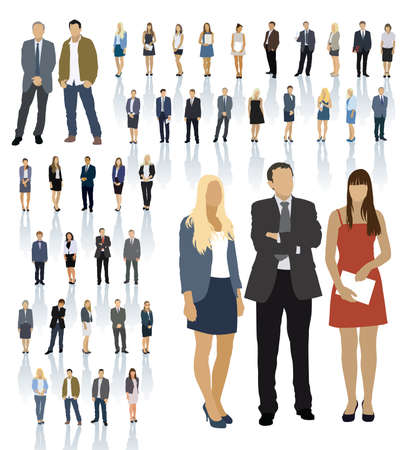 standing: Large colorful set of people silhouettes. Businesspeople; men and women.