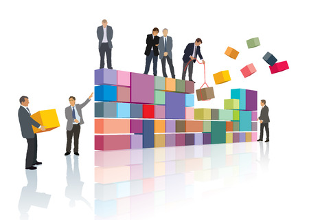 Group of people make the company, builds their own business. Illustration