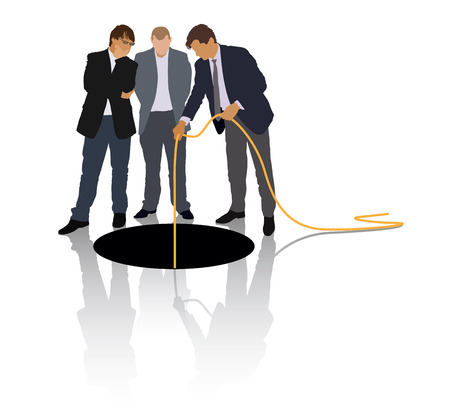 Group of people in suits are exploring the large hole. Illustration