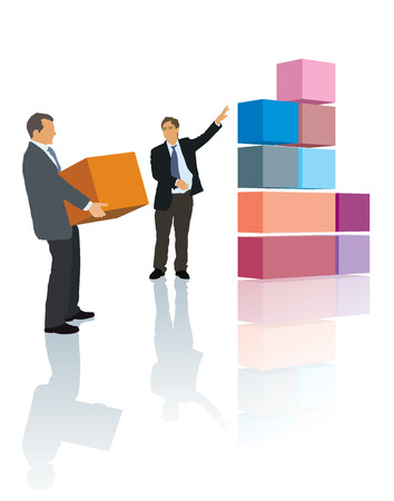 Two persons are working together, builds their own business. Vector