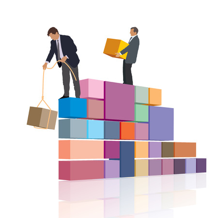 own: Two persons are working together, builds their own business. Illustration