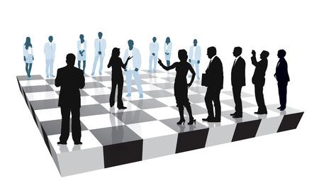 personas pensando: Grupo de personas que est� jugando el juego de estrategia de negocios