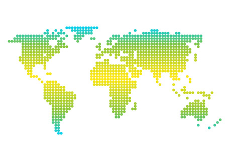 Colorful world map showing Earth with all continents. Vector