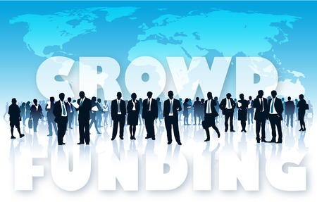 rat race: Crowd of businesspeople in front of large world map and large words � CROWD FUNDING.
