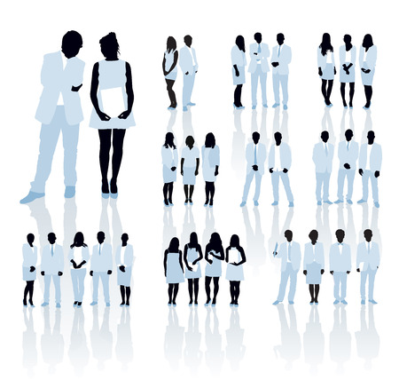 rat race: Large set of people silhouettes. Businesspeople; men and women.