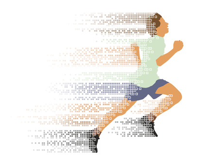 young one: One young man running in the race. Illustration