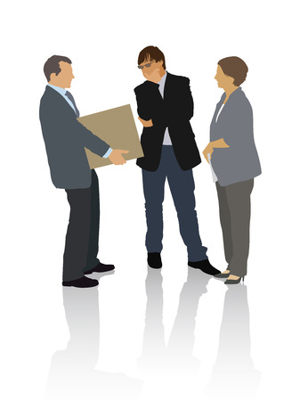 situation: Group of people in the typical business situation Illustration