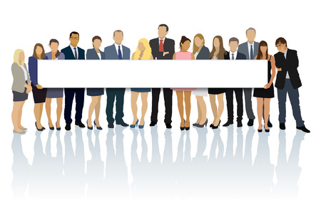 Crowd of businesspeople standing and holding big long billboard. Vector