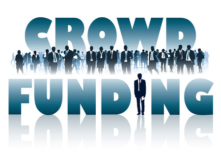 large crowd: Crowd of businesspeople and large words - CROWD FUNDING. Illustration