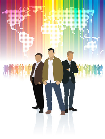 rat race: Three businessmen standing in front of colorful crowd of people and word map.