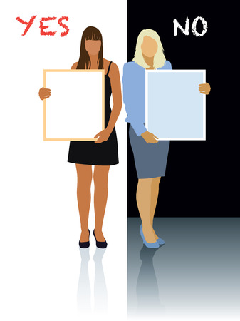 make a choice: Two women holding blank posters. Make a choice - yes or not. Illustration