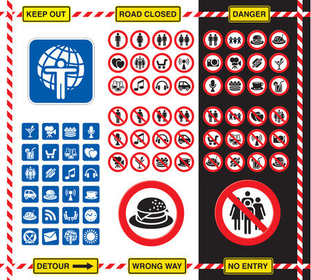 regulation: Collection of road signs and icons over white and black background