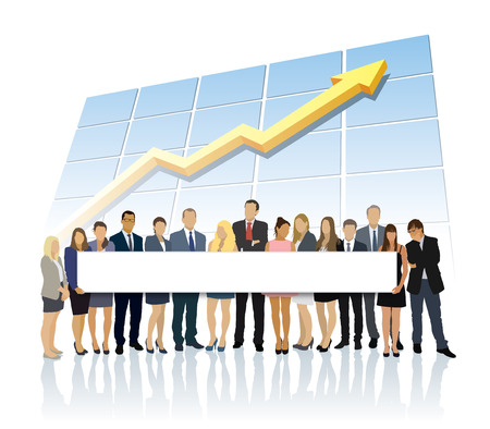 new job: Crowd of businesspeople standing in front of large chart and holding big long billboard Illustration