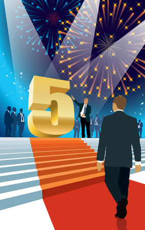 fifth: Crowd of businesspeople celebrating fifth anniversary, fireworks in the background Illustration