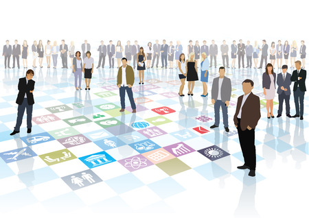 business game: People are playing the strategic business game Illustration