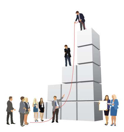successful people: Le persone di successo sono al lavoro per costruire grande grafico
