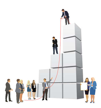 rat race: Successful people are working to build large graph Illustration