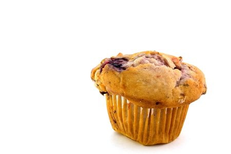 doughy: Sweet fruit muffin on white background