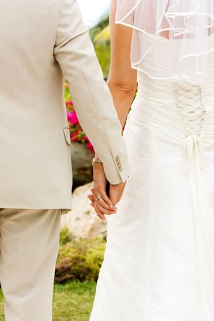 Couple holding hands with wedding rings (just married) Stock Photo - 3607857