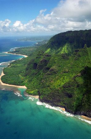 na: The stunning Na Pali coast of Kauai looking west over Kee Beach and Haena Point towads Hanalei Bay.
