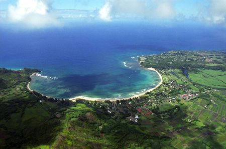 Aerial view of Hanalei Bay and the surrounding countryside of Kauai, Hawaii.