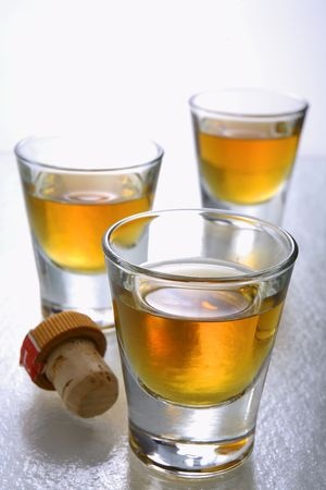 12 year old: 12 year old single malt scotch in shot glasses Stock Photo